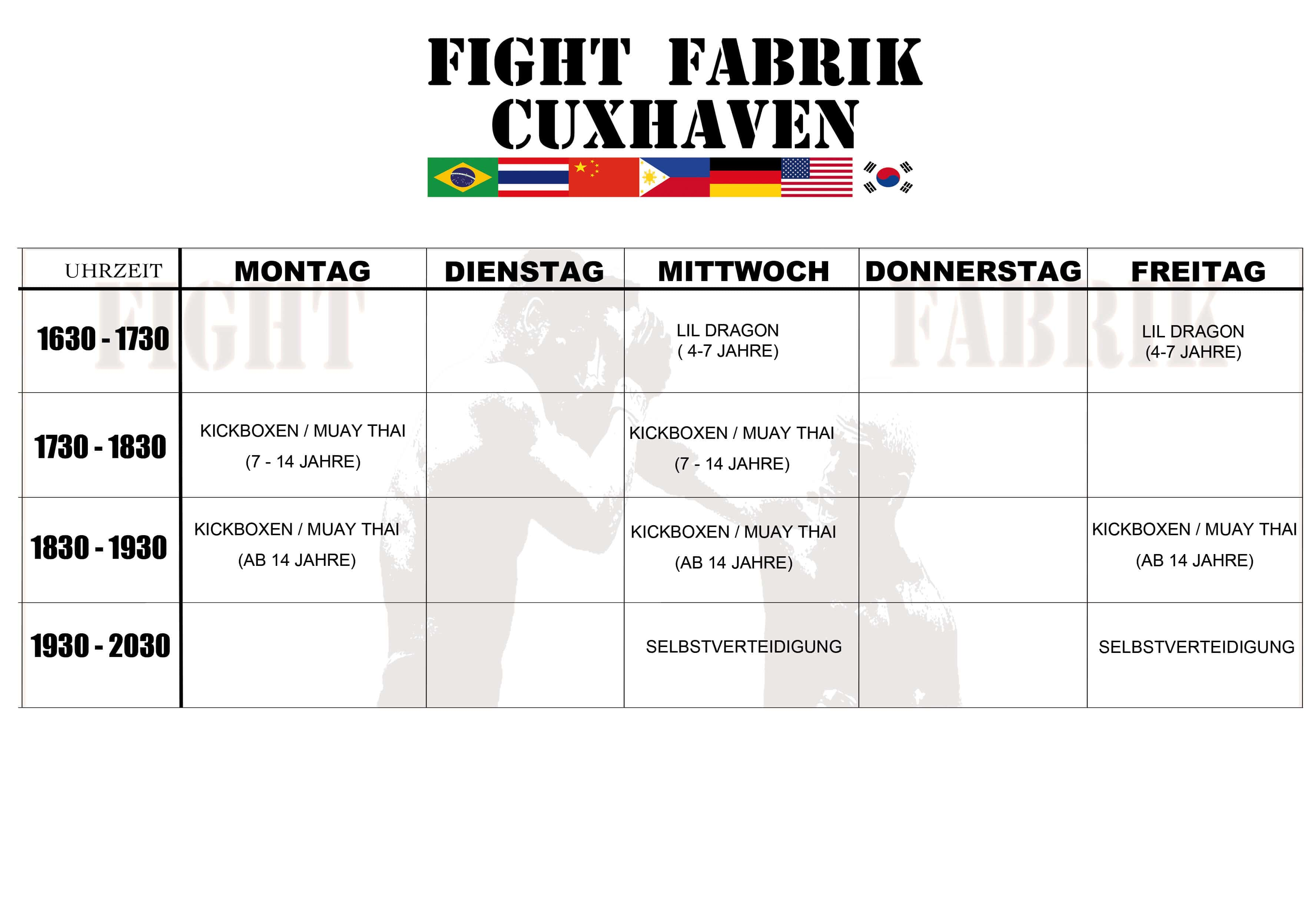 Fight Fabrik Cuxhaven Trainingsplan